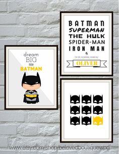 Batman Print Set Batman Wall Art Superhero by belovedboutiquewpg