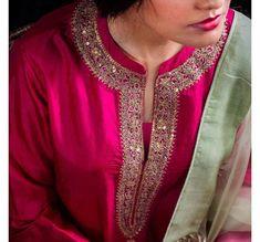 Salwar Neck Designs, Churidar Designs, Blouse Designs, Hand Embroidery Dress, Kurti Embroidery Design, Frock Fashion, Girl Fashion, Fashion Dresses, Beautiful Suit