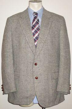 Men's Harris Tweed Sport Coat 100% Wool - 44R - Gray Herringbone #PBM #TwoButton