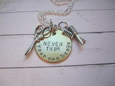 NEVER trim your own bangs cosmetology necklace with shears and comb charms