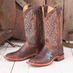 Tony Lama Ladies' Tan and Teal Cross Boots