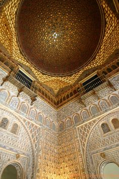 Dôme Salon de Embajadores, Sevilla Alcazar, Andalusie, Spanje…