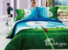 New Arrivals Perfect Printed Dreamlike Dandelion With High Quality 4 Pieces Bedding Setse on sale, Buy Retail Price Scenery Bedding Sets at Beddinginn.com