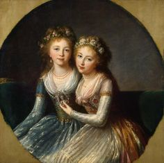 """""""Alexandra and Elena, Daughters of Paul I of Russia"""" (1796) by Élisabeth Vigée Le Brun (1755-1842)."""
