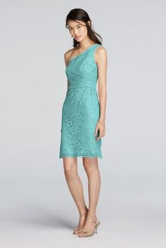 Our floral lace is as lovely as ever on this short bridesmaid dress with an asymmetrical one-shoulder neckline, trimmed with whimsical scalloping that mirrors the hem.  Short above the knee all-over lace dress with one shoulder and scalloped trim.  Available in Extra Length sizes as Style 2XLF19054. Look alike and shortversion of Style F19042.  Fully lined. Imported.Dry clean only. To protect your dress, try our Non Woven Garment Bag.