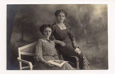 Vintage photo 2 beautiful girls Paper Ephemera Portrait portraits real postcard Old Victorian Antique studio portraits RPPC girl. $12.00, via Etsy.