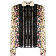 Gucci pleated bib peter pan blouse ($2,080) ❤ liked on Polyvore featuring tops, blouses, peter pan collar top, floral long sleeve blouse, long sleeve tops, multi color blouse and peter pan top
