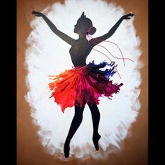 Recicla tus viejos crayones para crear un hermoso cuadro con siluetas de ballerinas que se verá muy bien en cualquier habitación de chica....
