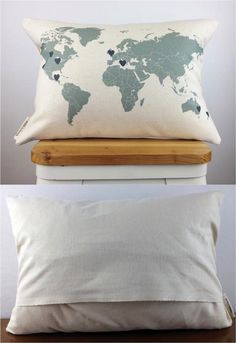 This world map pillow is perfect for a variety of occasions, including weddings, engagements, moving away gifts, or simply as a gift for your long distance sweetheart. Personalize it with all the places you've been to together or are hoping to visit! | Made on Hatch.co by independent designers and makers who care.