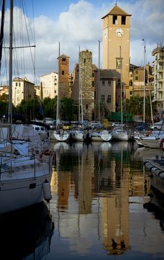 Medieval towers of Savona seen from the harbour, Liguria / Italy (by bormanus).