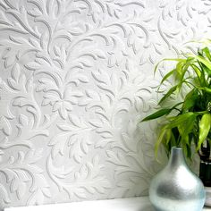 Brewster Home Fashions Anaglypta Paintable High Leaf Textured Wallpaper