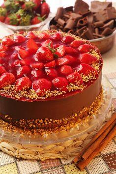Torta de Chocolate com Morango