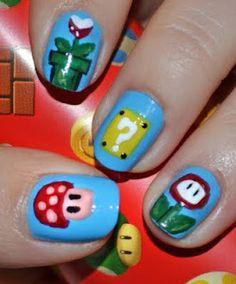 nail polish, make-up, nails, mario, video games, nerd, patterns, Nintendo
