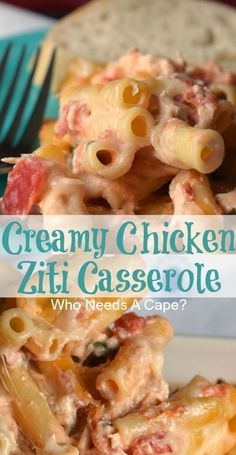 Bring Creamy Chicken Ziti Casserole to the dinner Tomato And Cheese, Spinach And Cheese, Easy Chicken Recipes, Pasta Recipes, Turkey Recipes, Dinner Recipes, Pasta Meals, Noodle Recipes, Cookbook Recipes