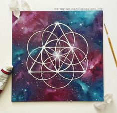 Sacred Geometry Art Space Painting Crystal Healing  Crystal Grid by KanoelaniArt
