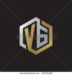 VG initial letters looping linked hexagon elegant logo golden silver black background