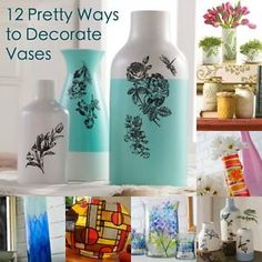 12 Pretty Ways to Decorate a Basic Vase | eBay  These tricks are easy and the bases look great! I want to do this!