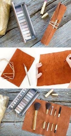DIY Leather Makeup Brush Holder