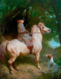 A Morning Ride, the Yellow Sheltie, 1913, by John Charlton (1849-1917)
