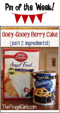 Gooey Blueberry Angel Food Cake Recipe from TheFrugalGirls.com