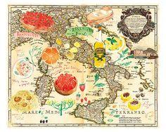 Italian Food Map Art Print  by lucileskitchen