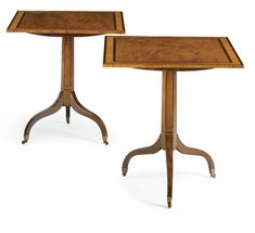date unspecified A pair of George III inlaid mahogany, rosewood and amaranth tripod tables Estimate 15,000 — 25,000 USD LOT SOLD. 22,500 USD (Hammer Price with Buyer's Premium)