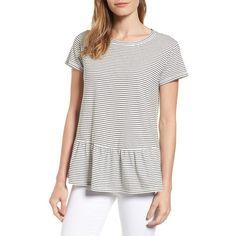 Petite Women's Caslon Peplum Tee ($39) ❤ liked on Polyvore featuring tops, t-shirts, petite, white tops, petite t shirts, peplum tops, caslon t shirts and petite tee