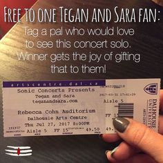 TEGAN & SARA. TMRO NIGHT. CONTESSSST ... From @pramanahfx  Guys. Alicia has one lonely ticket left for tomorrow's (sold out we hear) Tegan and Sara concert. Know someone who wants to go? Make their day by winning them this ticket. Simply like this post and tag them in the comments below. We'll do a random draw at noon tomorrow (July 27th) and DM the winner to make arrangements for pick up. They'll have one hour to rsvp before we move on. Let's see your love! #contest #teganandsara #giveaway…