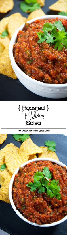 Roasted poblanos and tomatoes bring out the natural sweetness to make this roasted poblano salsa a smoky and sweet hit! #mexicanfood #salsa #dip #glutenfree