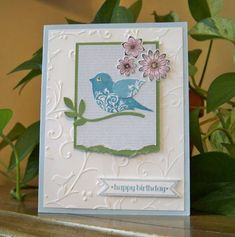 Stamin' Up! ... handmade card: Birthday Banner and Punch Potpourri by MelodyGal ... two step bird punch as focal element ... like the flourishes and raised wing ... embossing folder texture matches the theme ... lovely ...