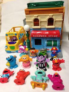 Hasbro Sesame Street Lot Mr Hoopers Store Set with School Bus and 12 Figures | eBay