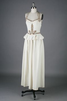 Vintage 1930s Ivory Beaded Halter Gown | From a collection of rare vintage evening dresses at https://www.1stdibs.com/fashion/clothing/evening-dresses/