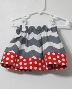736e28221aaba Items similar to Gray chevron and red white polka dot skirt - Baby simple  skirt - baby clothes - Infant Girl handmade skirt - girls clothes - Size 9  months ...