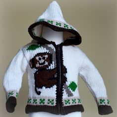 Monkey Around Sweater -  An adorable monkey climbing up the front with another happy monkey in the back, this sweater is just too sweet to pass up!