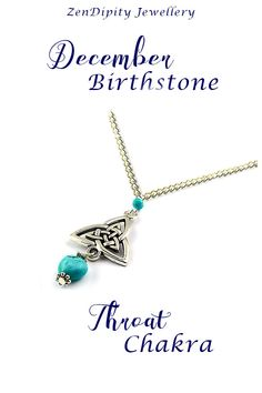 This Celtic Knot Triquetra Necklace, looks fantastic with a basic tee and jeans or your special occasion outfit. Wear this December birthstone, Celtic Trinity Necklace with Turquoise gemstones for protection and healing with the Throat Chakra. This is the go-to girlfriend gift/ daughter gift/wife gift.  Silver Knot Knecklace, Trinity Knot Jewelry.   Please click the 'Visit' button to get more detailed information. Handmade in the UK! Healing Crystals For You, Chakra Crystals, Crystal Healing, Celtic Knot Necklace, Trinity Knot, Meaningful Jewelry, Triquetra, Girlfriend Gift, Throat Chakra