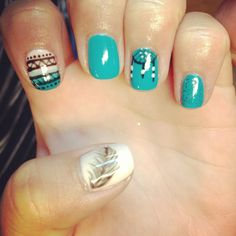 Nails nail art shellac gelish gel nails teal pink Aztec tribal nails dreamcatcher feather glitter