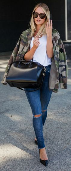 Kristin Sundberg + edgy and semi-androgynous style + white tee + distressed skinny jeans + oversized camouflage jacket + effortlessly simple + never fails to look cute!   Jeans: Lindex, Jacket: NA-KD, Shoes: Zara, Bag: Givenchy.