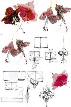 La fucsia \/ las Flores de las cintas y la tela \/ En la costura // Татьяна из Волжского