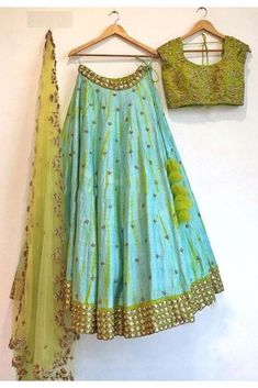 Silk Lehenga Choli In Blue Colour Look fabulous in this amazing attire.We bring to you this exclusive set that has been designed in a special way with beautiful intricate detailing all over to impress you.Its Party Wear And Cute - The. Indian Lehenga, Half Saree Lehenga, Lehnga Dress, Silk Lehenga, Cape Lehenga, Lehenga Blouse, Anarkali Suits, Punjabi Suits, Dress Skirt
