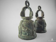 Vintage Bronze Buddhist Temple Bells from Thailand with Sacred Siam Elephants. Bring blessing and luck to your life. Perfect Gift Idea by SiamSawadee, $69.99