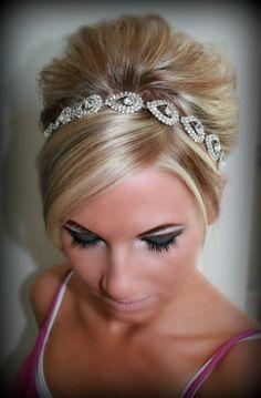 Wedding headpiece headband ELSIE Rhinestone Headband por BrassLotus