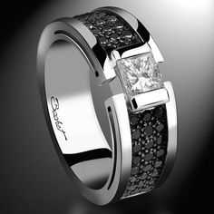 Solitaire BlackLight Shade, white diamond and black diamonds - Bachet Mens Pinky Ring, Gents Ring, Black Gold Jewelry, Cheap Jewelry, Wedding Ring Bands, Bracelets For Men, Rings For Men, Men's Jewellery, Crystals