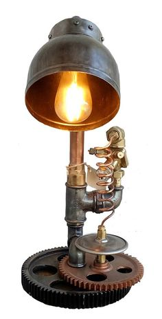 Bedside table lamps Edison light bulb Steampunk Industrial