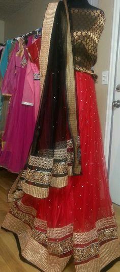 Red Net Partywear Chaniya Choli Lehenga semi stitched #Handmade #SariSaree