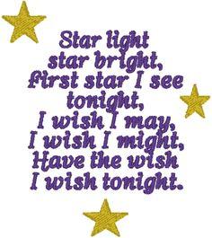 Star Light Star Bright Embroidery Design