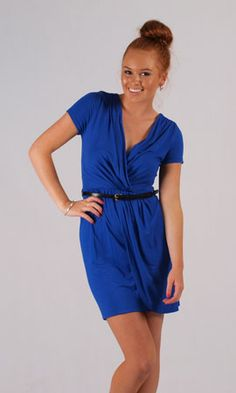 Jersey Dress 2842PFcol06.  Comfortable, wrap style dress in a standout cobalt blue colour. Dress it up or dress it down, you can do no wrong. Black belt also included.