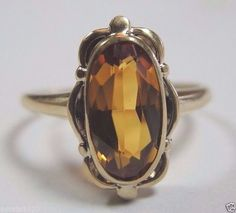 Antique Topaz Engagement Ring 10K Yellow Gold Ring Size 7.25 Art Deco Vintage #Topa #SolitairewithAccents