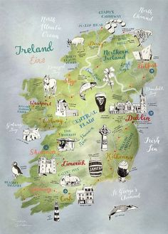 Ireland Map, Map of Ireland by Theresa Grieben, illustrated map art print of Ireland, art poster, road trip map Irland Landkarte. This is a high quality print of my hand drawn map of Ireland (and Northern Ireland). I illustrated the towns as well as the stunning nature and animal wildlife of this beautiful country in Western Europe. Its the perfect present for any Irish native and its an awesome farewell gift for someone travelling to Ireland or coming back. Ireland Roadtrip