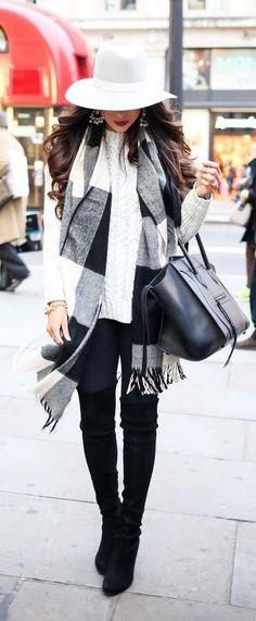 Black/white plaid blanket scarf + white sweater + black skinny jeans, booties & handbag