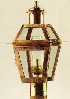 6P (NC) Small Gas Lantern: Made from Solid Copper with a solid copper look. Made at Newstamp Lighiting Corp in USA. See website for dimensions and pricing